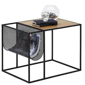 Carryhome Beistelltisch quadratisch schwarz, eichefarben , Rike , Metall , 40x40x55 cm , pulverbeschichtet,3D-Folie,Nachbildung , 002798001401