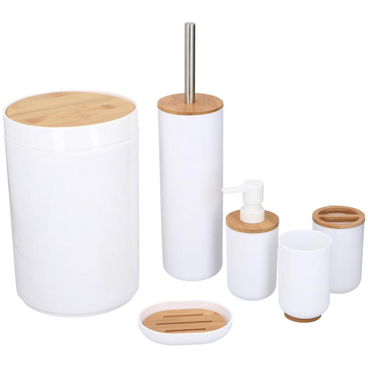 XXXLutz Bad accessoire set , 12686 , Weiß , Holz, Kunststoff , Bambus , 006287102701 von XXXLutz ...