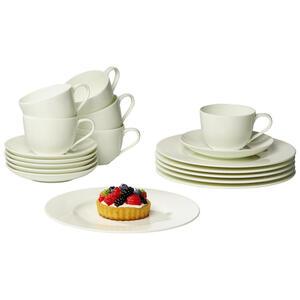 Villeroy & Boch New bone china kaffeeset 18-teilig , 19-5160-7126 , Weiß , Keramik , Uni , 19x32x34 cm , glänzend , 003407047601