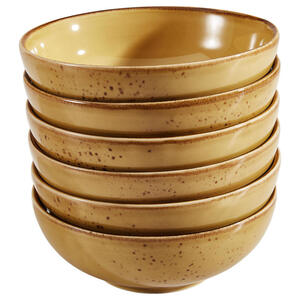 XXXLutz Schüsselset keramik steinzeug 6-teilig , 21980 , Currygelb , 007768024605