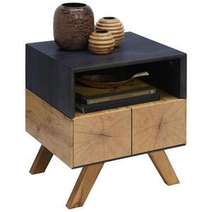 Carryhome Beistelltisch eiche rechteckig eichefarben, dunkelgrau , Kik , Holz , 1 Schubladen , 45x50x40 cm , 3D-Folie,Nachbildung , 002798002004