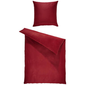 Bio:Vio Bettwäsche satin bordeaux 200/200 cm , Merada , Textil , Uni , 200x200 cm , Satin , 004378011408