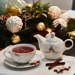 X-Mas Tea-for-one-set , 10021861 Tea-for-One , Weiß, Goldfarben , Keramik , Stern , 16x16x16 cm , bedruckt , 003579029601