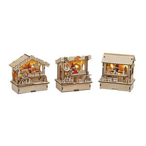X-Mas Stimmungslicht 3er set braun , 10055316 A+B+C , Holz , Weihnachten , 8x28x45 cm , zum Stellen , 003579016206