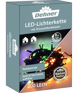 Dehner LED-Lichterkette bunt/bernstein, 200 LEDs