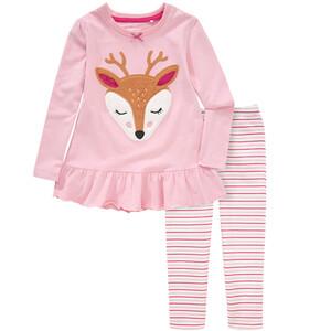 Mädchen Schlafanzug mit Reh-Applikation