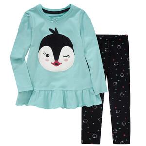 Mädchen Schlafanzug mit Pinguin-Applikation