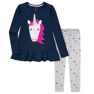 Mädchen Schlafanzug mit Einhorn-Applikation