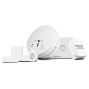 MEDION P85754 Smart Home Starter Set [Gateway, Zwischenstecker, 4x Tür-/Fensterkontakt, Rauchmelder, Bewegungsmelder, Erschütterungssensor]