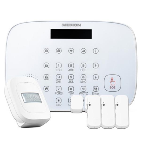 MEDION P85773 Smart Home Security-Set [Alarm Zentrale, 3x Tür-/Fensterkontakt, Bewegungsmelder]
