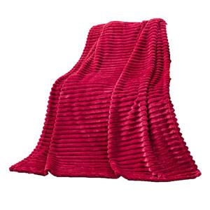 "Bella Casa Flanell-Decke ""Cord-Optik"", ca. 130 x 170 cm - Rot"