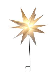 Star-Max LED Kunststoff Stern weiss 58cm + 90cm Stab