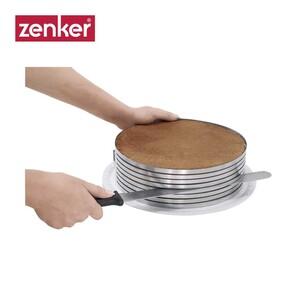 Tortenboden-Schneidhilfe - zum Schneiden von bis zu 8 Tortenböden - verstellbar von ca. 26 bis 28 cm Ø - inkl. Konditormesser·
