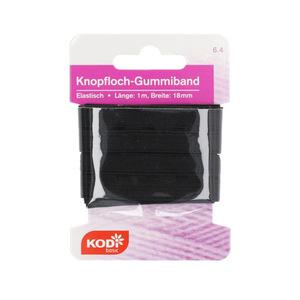 KODi basic Knopfloch Gummiband 18 mm x 1 m in Schwarz