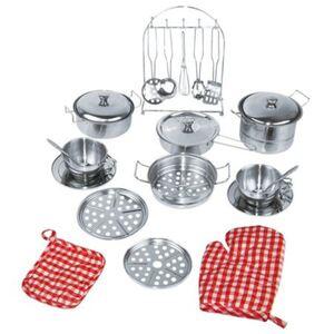 Spielküchen-Set aus Edelstahl 23-teilig
