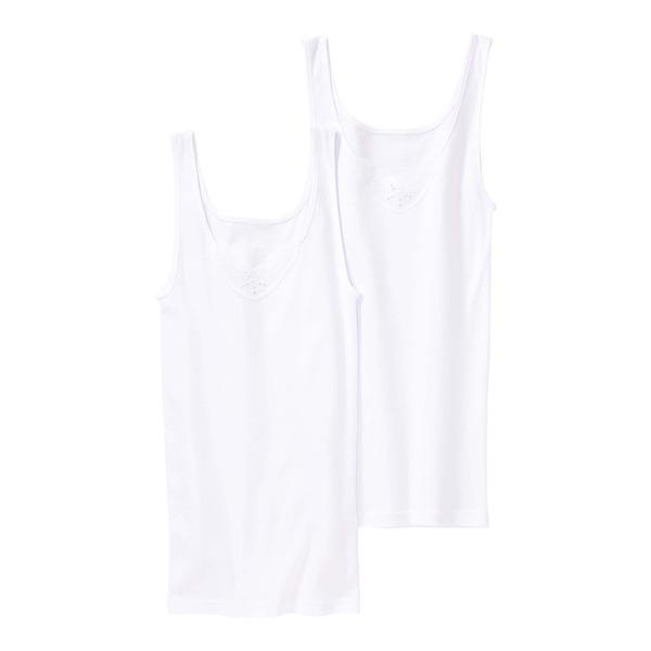 Damen-Unterhemd mit Stickerei, 2er Pack