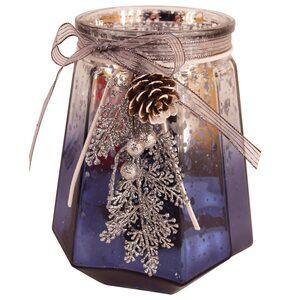 Windlicht - blau-silber - Glas - Ø 18 cm