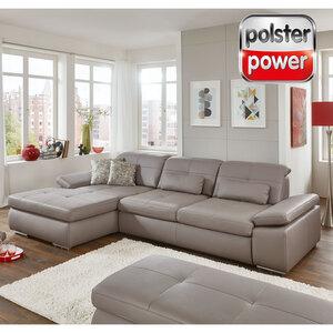 polsterpower Ledersofa - granit - Sitztiefenverstellung - Recamiere links