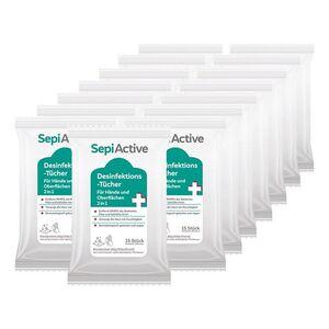 SepiActive Desinfektions-Tücher für Hände und Oberflächen 2in1 15 Stück, 8er Pack