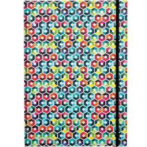 REMEMBER Notizbuch DIN A4 mit Gummiband Hexagon bunt