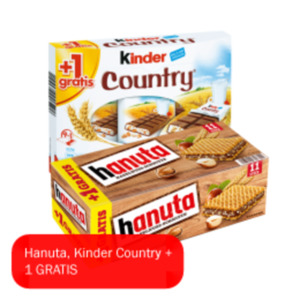 Hanuta 10+1, Kinder Country 9+1, Kinder Bueno 6er oder Duplo Chocnut 5er