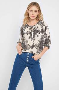 ¾-Bluse mit Muster