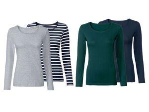 ESMARA® Langarmshirt Damen, 2 Stück, mit Baumwolle