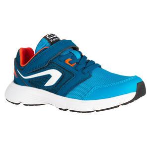 Laufschuhe Leichtathletik Run Support Klettverschluss Kinder blau/neonkoralle