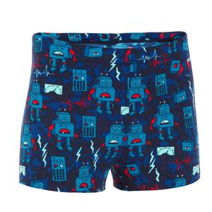 Badehose Boxer 500 Fitib All Jungen rot/blau Roboter