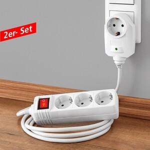 Powertec Electric 3-fach Tischsteckdose - 2er-Set