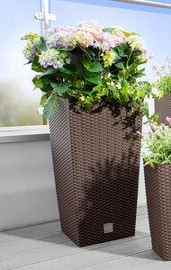 Powertec Garden Design Pflanzsäule mit Einsatz in Rattanoptik dunkelbraun 62 cm 2er Set