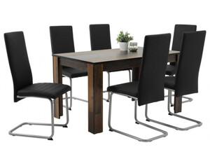 Tischgruppe Sandy 7-teilig Old Wood Nachbildung/schwarz