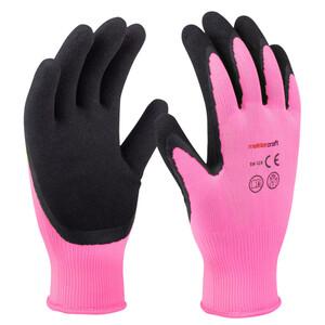 Gartenhandschuhe Größe 7 pink aus Polyester mit Latex-Beschichtung
