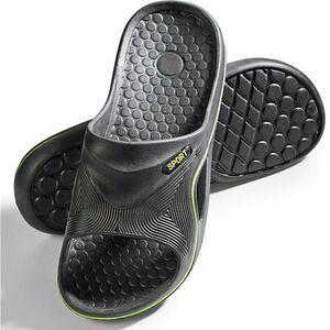Herren Badepantolette Gr. 45 schwarz/grün