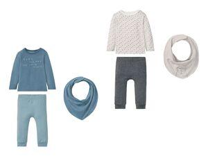 LUPILU® Babyset Jungen, 3-teilig, Langarmshirt, Schlupfhose und Halstuch, aus Biobaumwolle