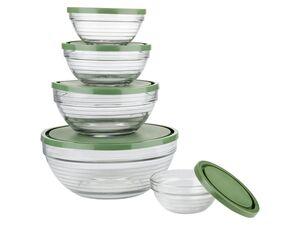 ERNESTO® Schalenset, 5 Stück, zum Frischhalten und Einfrieren, aus Glas