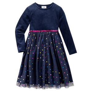Festliches Mädchen Kleid mit Punkte-Allover