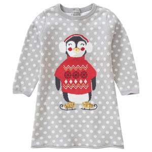Baby Strickkleid mit Pinguin-Motiv