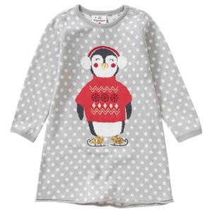 Mädchen Strickkleid mit Pinguin-Motiv