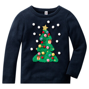Mädchen Strickpullover mit Weihnachts-Motiv