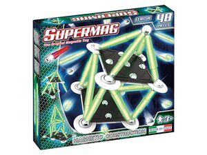 Supermag »Glow 48«, 48 Teile, Magnetstäbe leuchten im Dunkeln, ab 3 Jahren