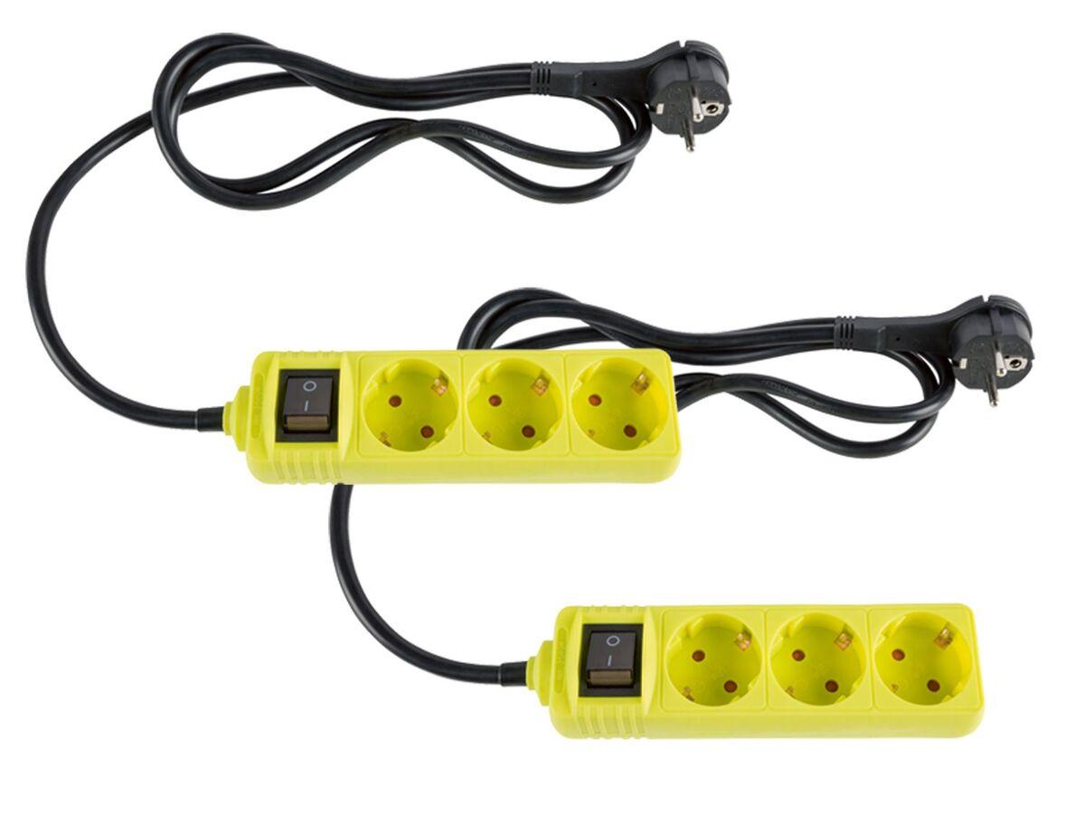 Bild 1 von SILVERCREST® Steckdosenleiste, 2 Stück, Flachstecker, Kinderschutz, beleuchteter Schalter