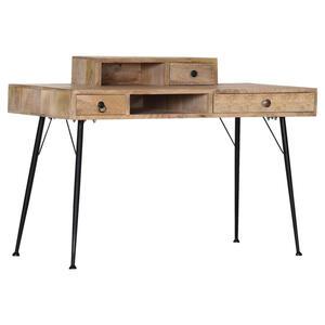 Livetastic Schreibtisch mangoholz massiv naturfarben, schwarz , Joyce , Holz, Metall , 3 Schubladen , 125x86x58 cm , lackiert, gebeizt,Echtholz , 002362045405