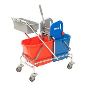 STIER Reinigungswagen mit Ablagekorb (inkl. STIER Wischmop-Set und 5x STIER Moppbezug)