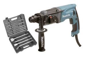 Bohrhammer HR 2470 inklusive 13-teiligem SDS Plus Bohr- und Meißelsatz Makita