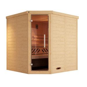 Weka              Massivholzsauna Eck Gr. 1, inkl. Sauna⁄Dampfbad-Ofen und Farblichtanwendung