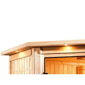 """Karibu              Sauna """"Malin"""", Eckeinstieg, ohne Ofen, mit Kranz, Klarglas-Tür"""