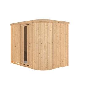 """Karibu              Sauna """"Titania"""" 4, Fronteinstieg, ohne Ofen, kein Kranz, Klarglas-Tür"""