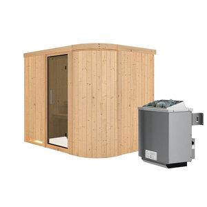 """Karibu              Sauna """"Titania"""" 4, Fronteinstieg, 9 kW Ofen integr. Strg., kein Kranz, Klarglas-Tür"""