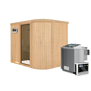 """Karibu              Sauna """"Titania"""" 4, Fronteinstieg, 9 kW Bio Ofen, kein Kranz, Klarglas-Tür"""
